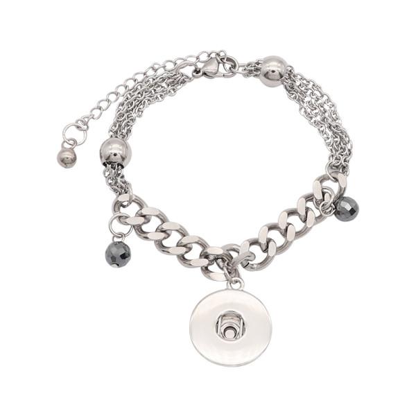1 кнопка оснастки серебристый браслет из нержавеющей стали подходят оснастки ювелирные изделия KC0580