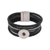Bracelets Snap en cuir noir KC0575 fit 20 mm boutons pression morceaux 1 bouton