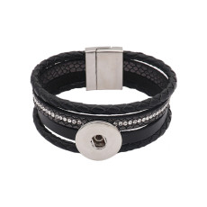 Black leather Snap bracelets KC0575 fit 20mm snaps chunks 1 button
