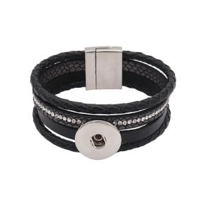 Pulseras Snap de cuero negro KC0575 encajan trozos de broches de 20 mm 1 botón