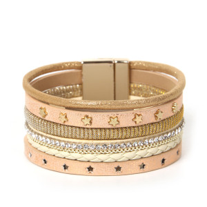 Star hollow multi-layer woven wide edge Bracelet