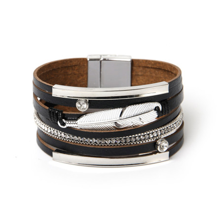 Leather Bracelet national style woven feather wide edge Bracelet