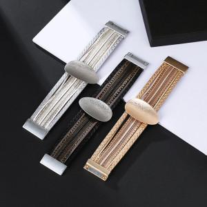 Metallfarbenes PU-Lederarmband Magnetschnalle mehrschichtiges Armband