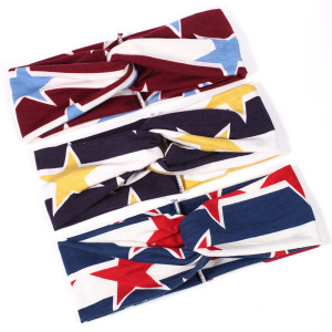 European and American Pentagram printed headband with double-layer pattern and fashionable hair band