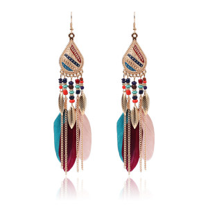 Retro national style Feather Earrings personalized Earrings Fashion court Feather Earrings