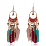 Ethnic wind lock oil drop ethnic fringe Feather Earrings