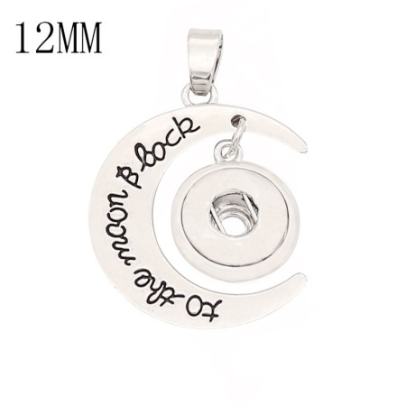 snap sliver Pendant fit 12MM snaps style jewelry KS0381-S