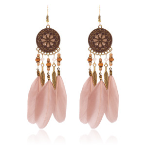 Disc pattern oil dripping Earrings wood bead water drill alloy leaf Feather Earrings