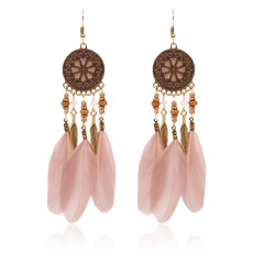 Disc pattern oil dripping Earrings wood bead water Personalized stereo  with rhinestone  alloy leaf Feather Earrings