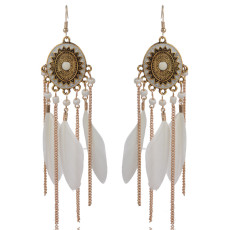 Feather chain tassel oval alloy oil dripping Earrings