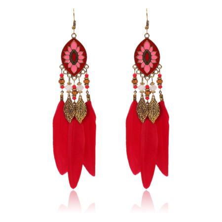 Bohemian wind rice bead leaves tassel Feather Earrings color oil dripping Earrings