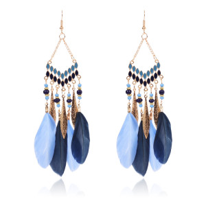 Hand made feather Tassel Earrings with rice beads accessories Earrings temperament long national style earrings