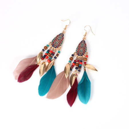 Leaf Pendant national style Feather Earrings