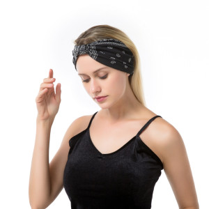Holiday and leisure sports hair bandans with knot in the middle and wide edge fashion cashew moon tooth print hair band headdress