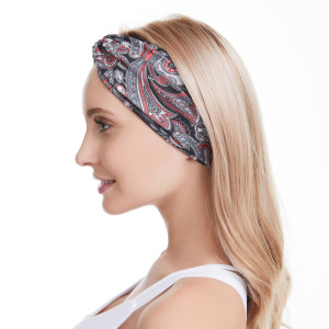European and American crescent cross hair band elastic wide cloth head band sports Yoga sweat absorption printing hair band