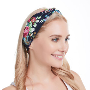 Floral headband hair accessories elastic cotton sports wash face wide hair band