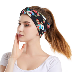 Copy Floral headband hair accessories elastic cotton sports wash face wide hair band