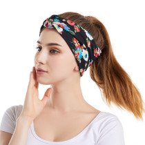 Copy Floral headband hair accessories elastic cotton sports wash face wide hair band bandans