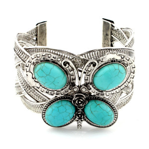 Bohemian character retro carved Turquoise Bracelet butterfly owl wide Bracelet