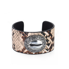 Shell snake adjustable opening wide edge Leather Bracelet