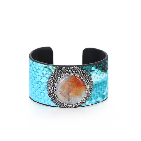 New gemstone snake adjustable opening wide edge Leather Bracelet