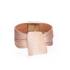 Fashionable multi-layer  minimal geometric stone grain iron sheet wide edge Leather Bracelet