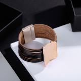 Модный многослойный минимальный геометрический камень зерна железный лист широкий край кожаный браслет