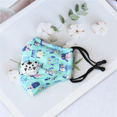 Owl children with breathing valve PM2.5 face mask all cotton cartoon adjustable washing three-dimensional dust prevention and haze prevention