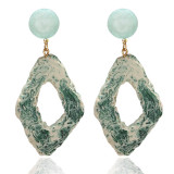 Imitation agate piece texture round hollow irregular Earrings