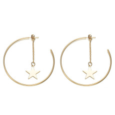 Simple and exaggerated geometric earrings, metal rings and stars, earrings and earrings for women