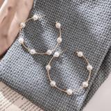 Темперамент ретро круг Жемчужные серьги женские простые моды большой бренд креативные C-образные жемчужные серьги