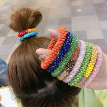 Sequin crystal color elastic hair band bracelet dual purpose hair accessories