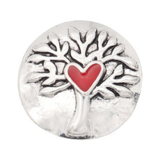 20MM Life Tree design snap silver Plated red Enamel KC8313