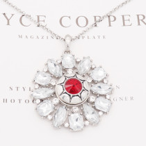 20MM round design snap silver Plated red rhinestone KC8321