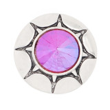 20MM round design snap silver Plated colourful rhinestone KC8317