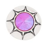 20MM design rond mousqueton plaqué argent strass coloré KC8317