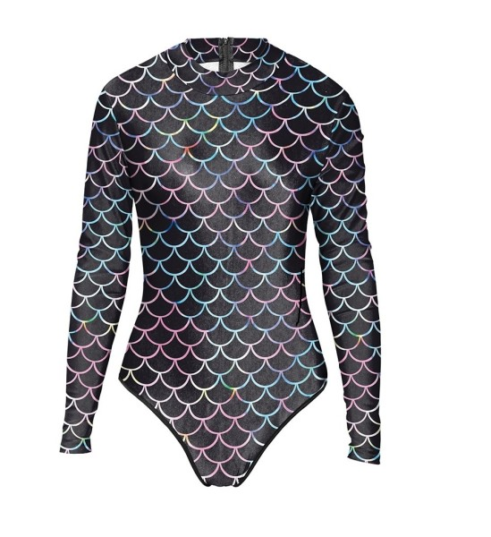 Long sleeve one piece swimsuit women's sports indoor swimsuit 3D printed fish scales