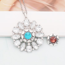 20MM round design snap silver Plated blue rhinestone KC8319