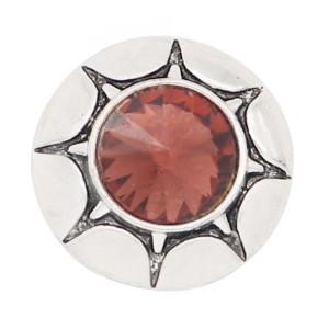 20MM round design snap silver Plated dark purple rhinestone KC8320