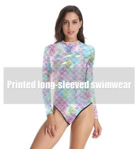 Nuevo traje de baño de una pieza con estampado digital original de verano de sirena