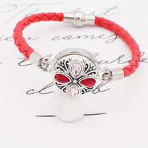20MM design snap silver Plated red rhinestone KC8314