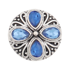 20MM design snap silver Plated blue rhinestone KC8315