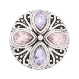20MM design snap silver Plated purple rhinestone KC8316