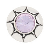 20MM round design snap silver Plated purple rhinestone KC8318