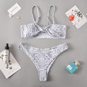 Maillot de bain fendu imprimé serpent sexy bikini pour femme