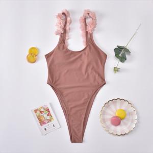 One piece women's swimsuit solid bikini