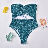Polka dot print one piece women's swimsuit gather Swimsuit Bikini