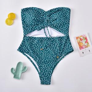 Traje de baño de una pieza con estampado de lunares para mujer Bikini de traje de baño