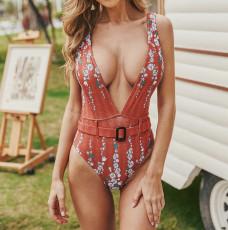 Коричневый с принтом цельный купальник женский бикини