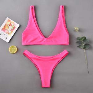 Two shoulder split swimsuit female sexy bikini